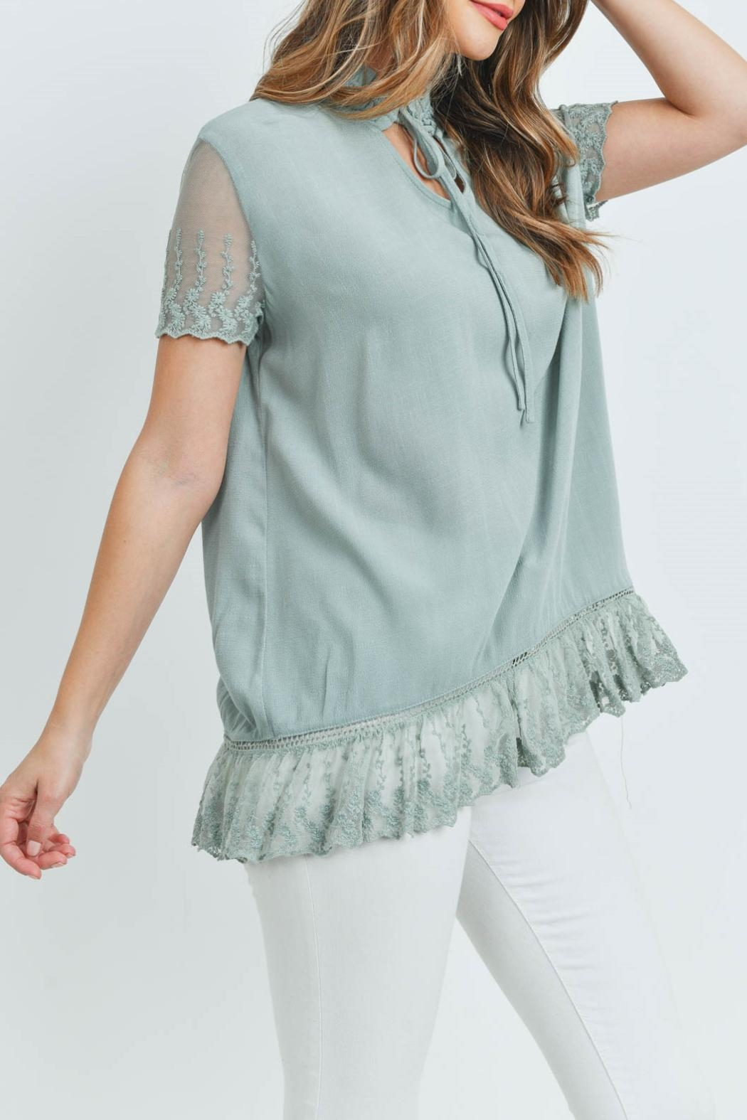 L Love Sage Lace Top - Side Cropped Image