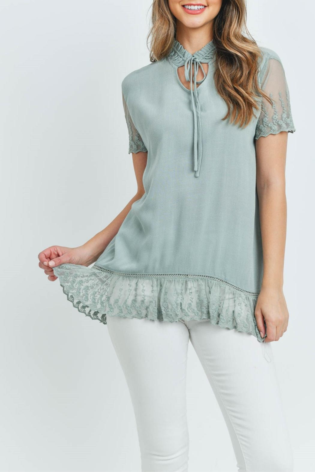 L Love Sage Lace Top - Main Image
