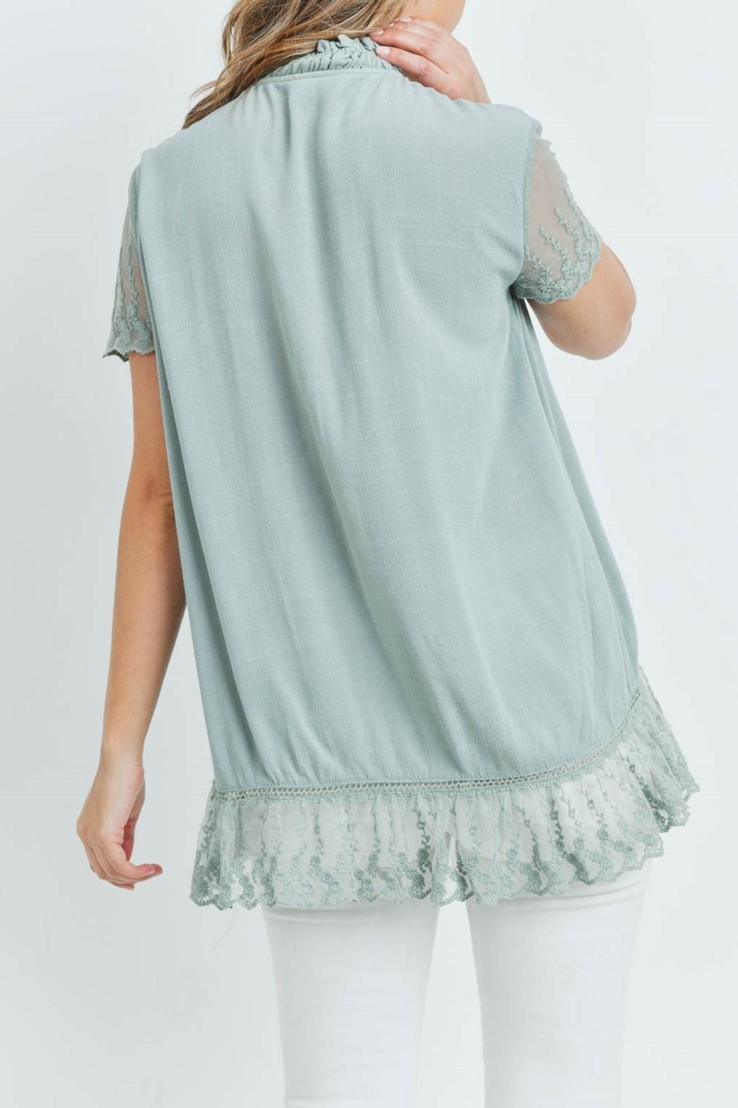 L Love Sage Lace Top - Back Cropped Image