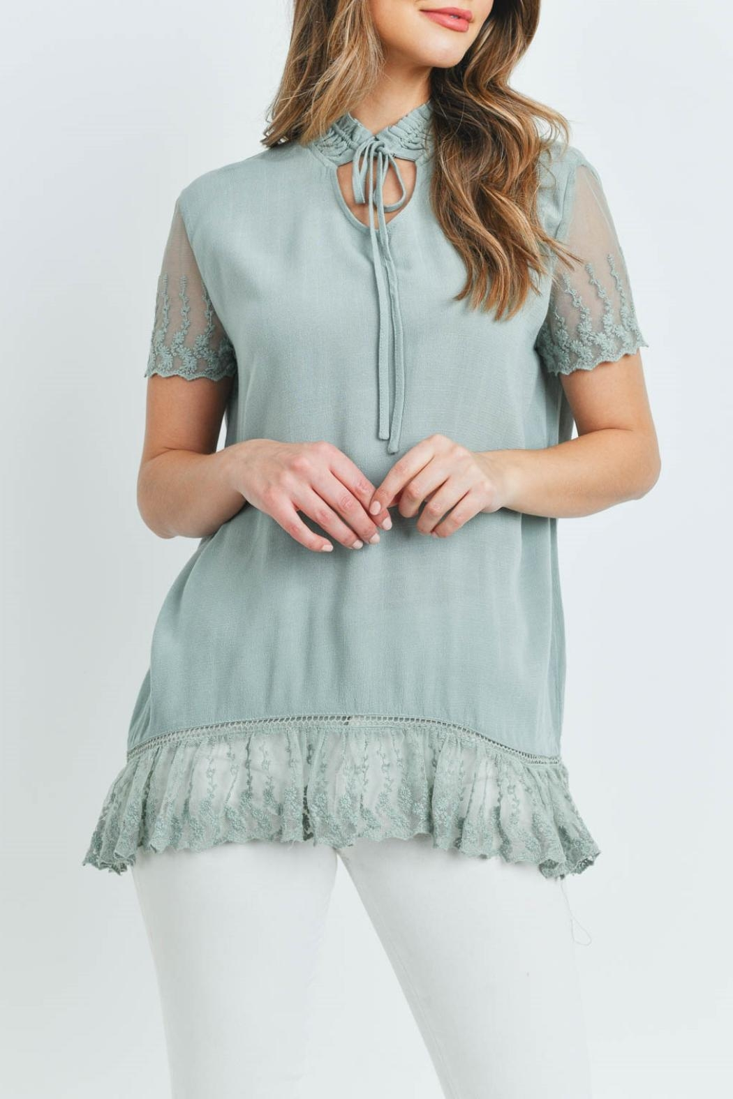 L Love Sage Lace Top - Front Full Image