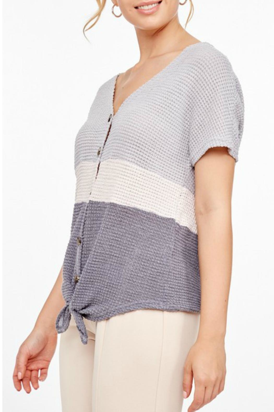 L Love Shortsleeve Knitted Top - Side Cropped Image