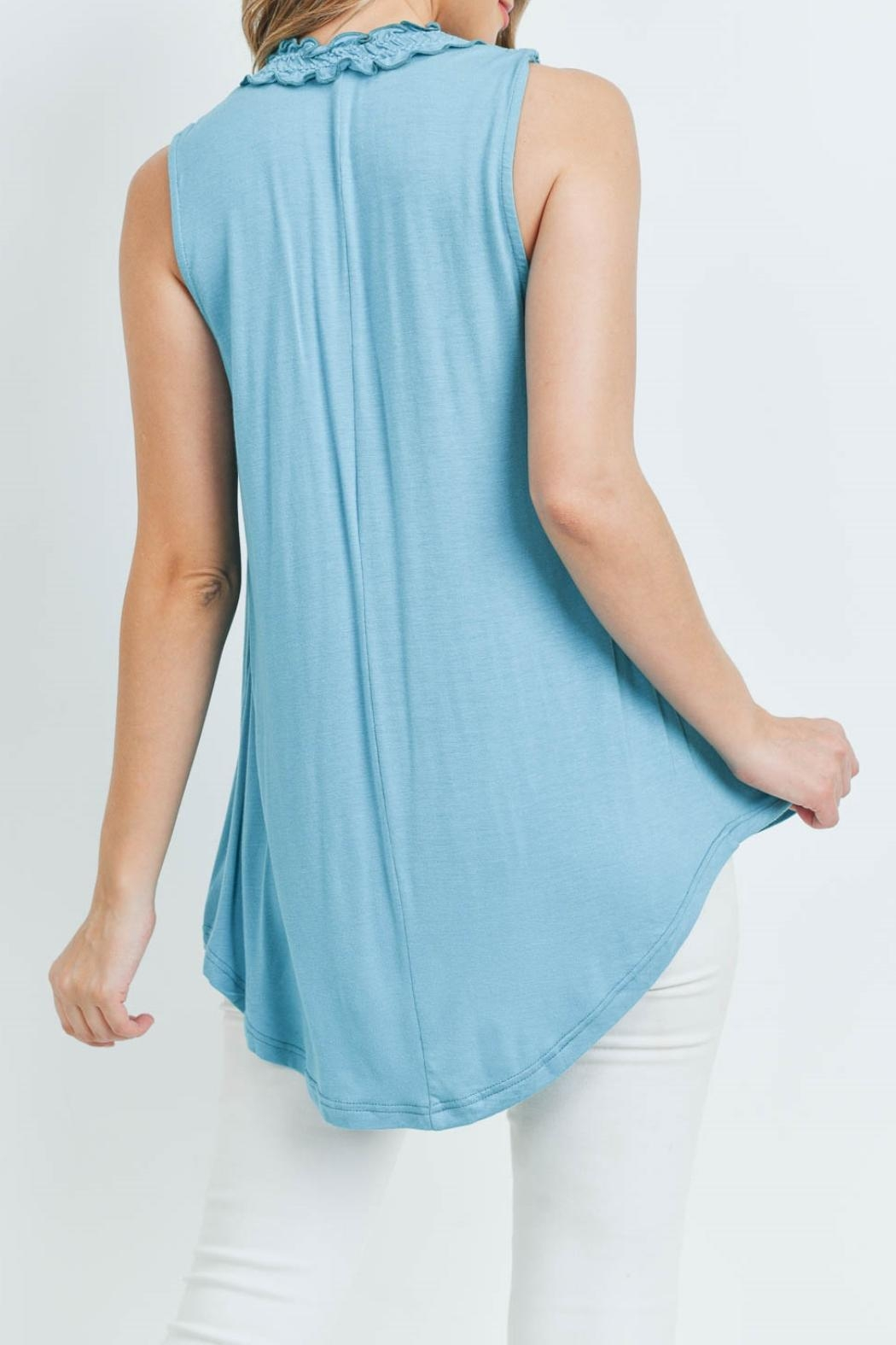 L Love Turquoise Top - Back Cropped Image