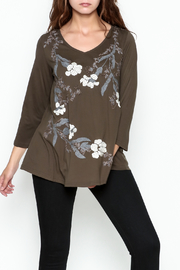 LA Blend Bronze Embroidered Top - Front cropped