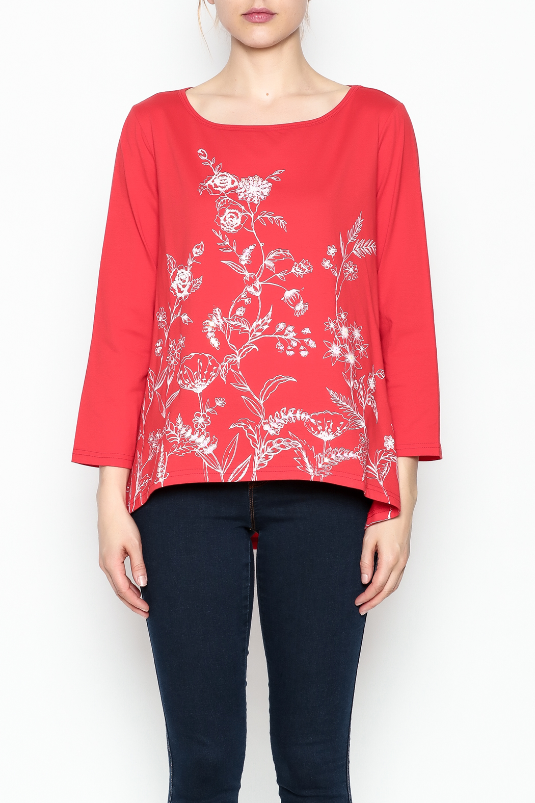LA Blend Hi Low Embroidered Top - Main Image