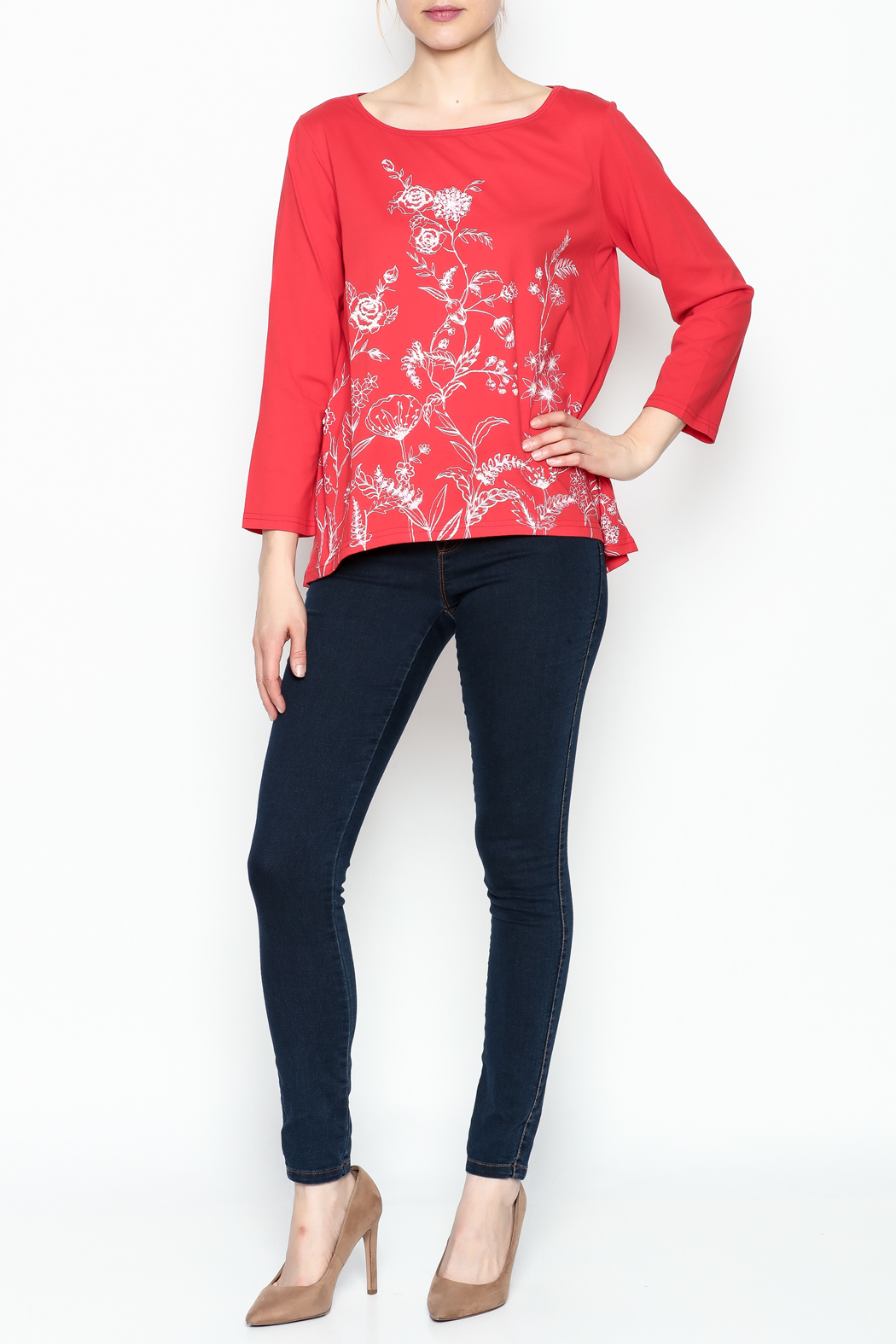 LA Blend Hi Low Embroidered Top - Front Full Image