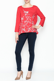 LA Blend Hi Low Embroidered Top - Front full body
