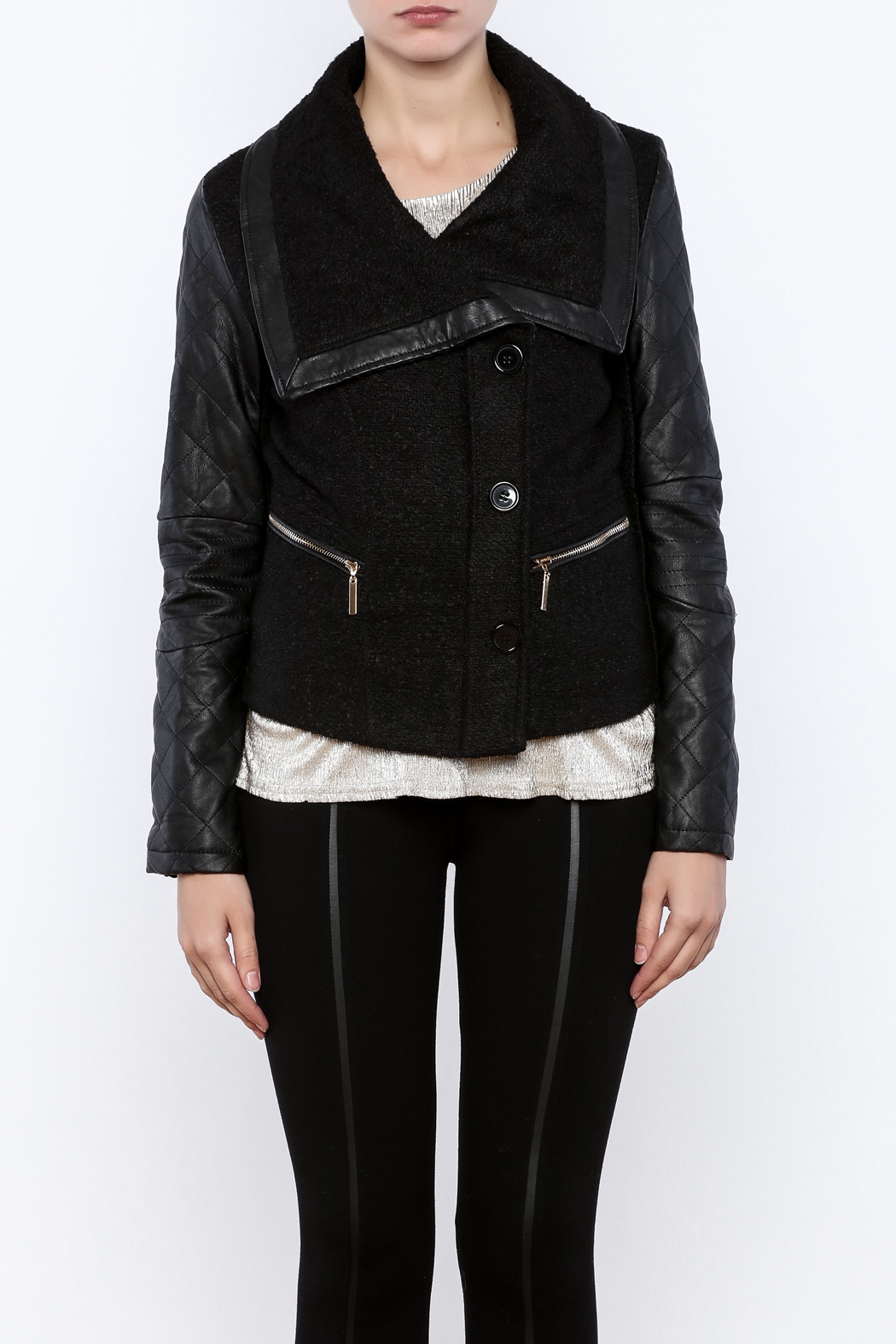 LA Coalition Cozy Biker Jacket - Side Cropped Image