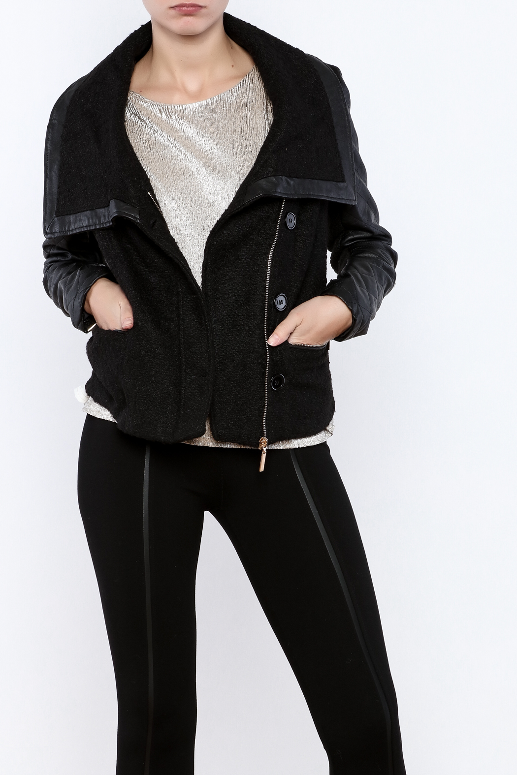 LA Coalition Cozy Biker Jacket - Front Cropped Image