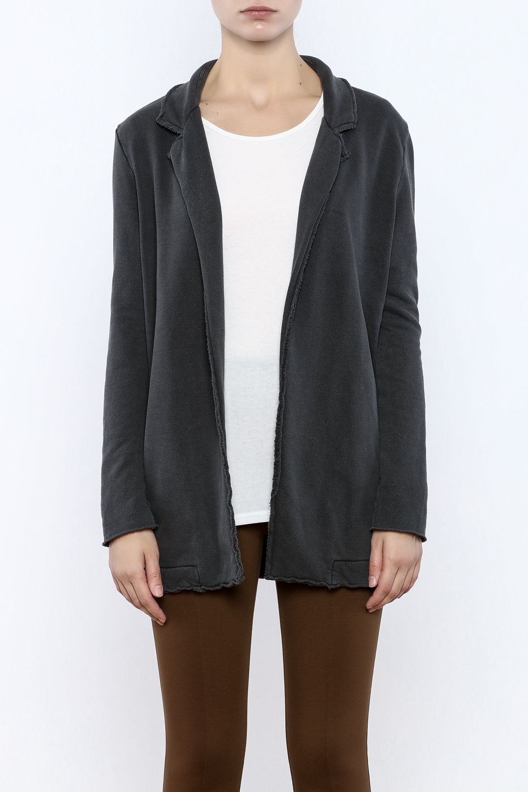 LA Made Charcoal Sweatshirt Blazer - Side Cropped Image