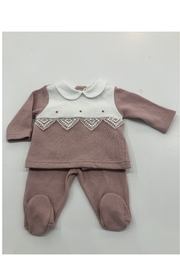 LA MASCOT  La Mascot Infant 2 piece knit set with lace edge - Made in Italy - Front cropped