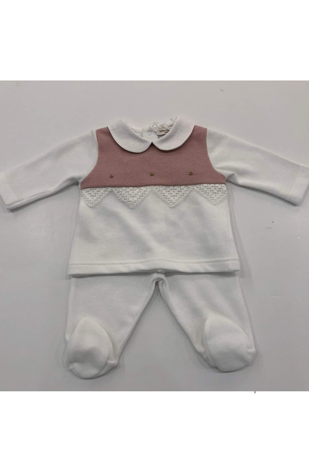 LA MASCOT  La Mascot Infant 2 piece knit set with lace edge - Made in Italy - Front Cropped Image