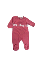 LA MASCOT  PINK SCALLOPED COTTON FOOTIE - MADE IN ITALY - Front cropped