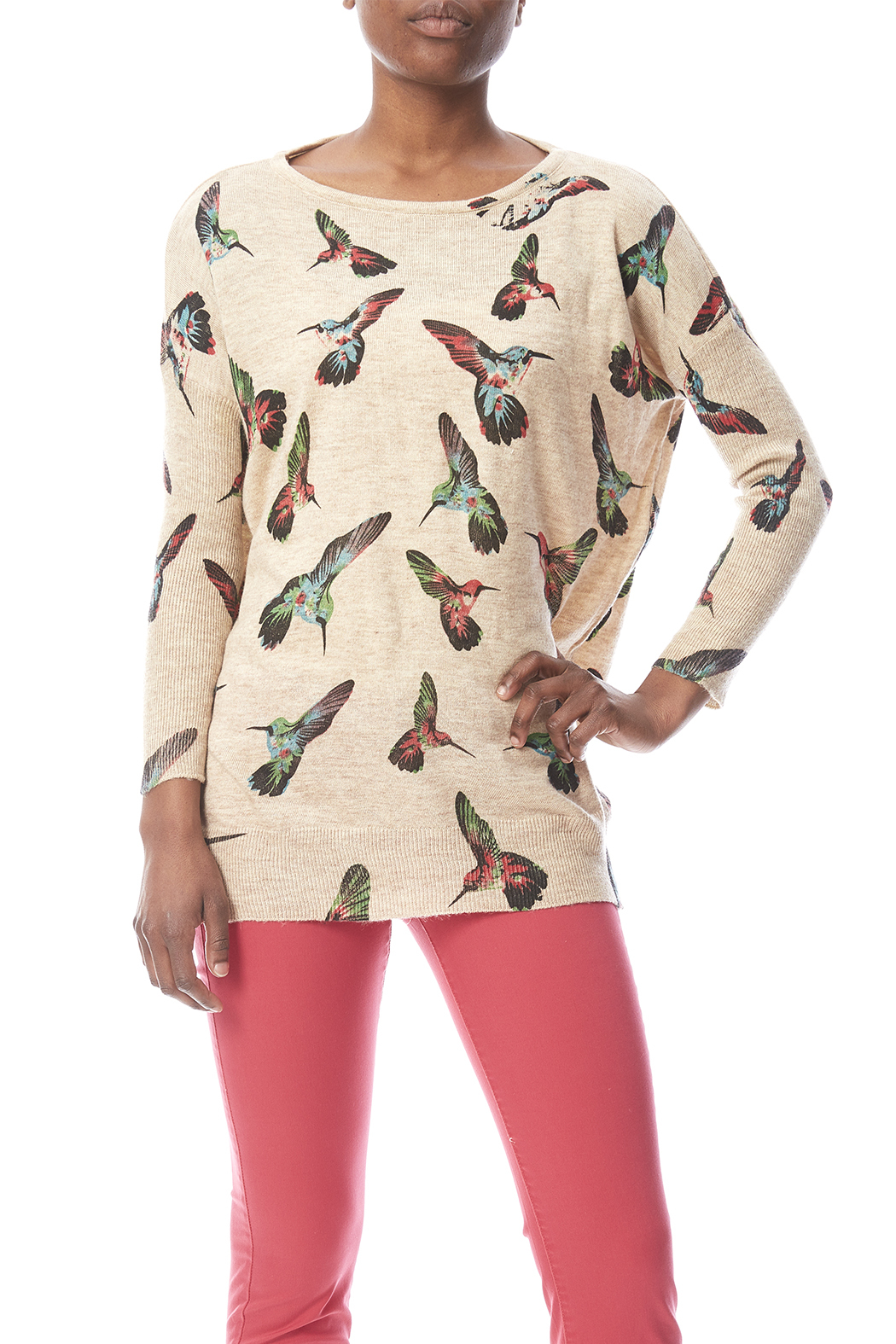 LA Soul Hummingbird Print Sweater - Main Image