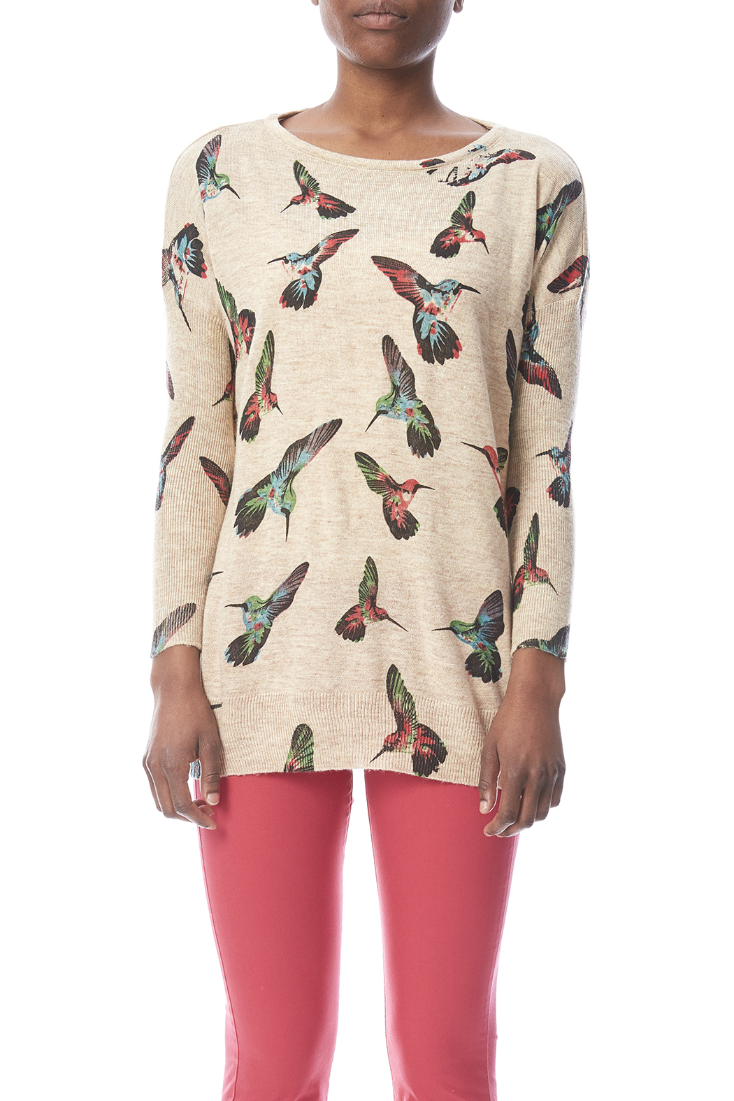 LA Soul Hummingbird Print Sweater - Side Cropped Image