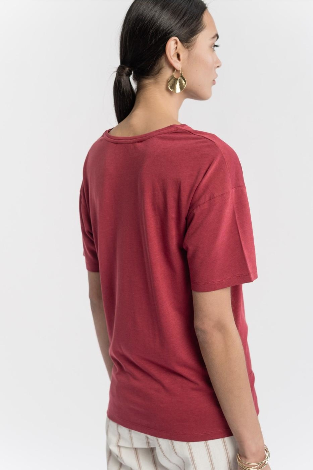 La Fee Maraboutee Cotton Bow Tshirt - Side Cropped Image