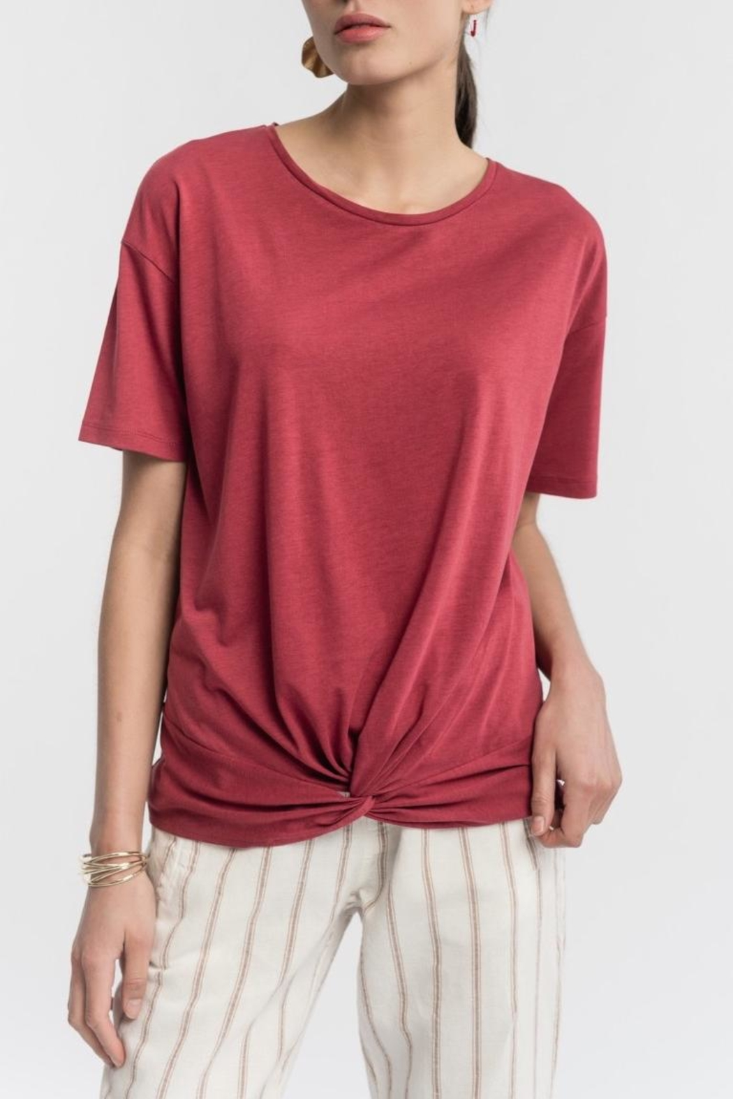 La Fee Maraboutee Cotton Bow Tshirt - Front Cropped Image