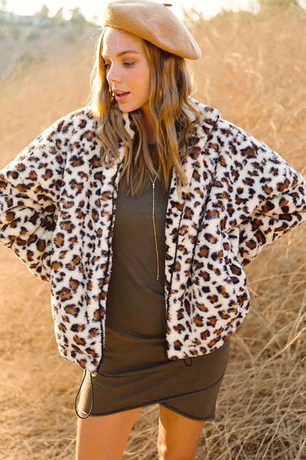 LA MIEL  Animal Leopard Sherpa Teddy Bear Cozy Jacket - Front Full Image