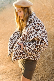 LA MIEL  Animal Leopard Sherpa Teddy Bear Cozy Jacket - Front cropped