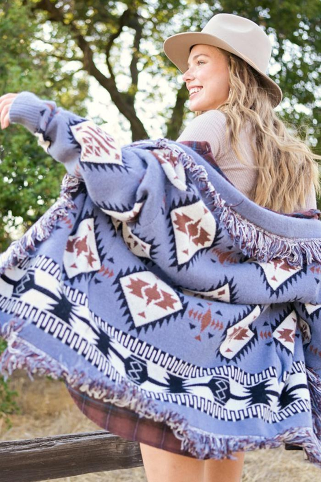 LA MIEL  Aztec Print Boho Knit Sweater Shawl Collar Cradigan Kimono With Tassel And Side Pockets - Front Cropped Image