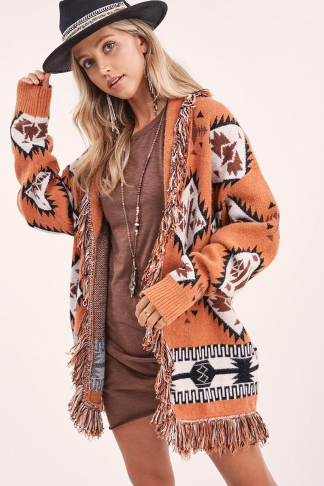 LA MIEL  Aztec Print Boho Knit Sweater Shawl Collar Cradigan Kimono With Tassel And Side Pockets - Front Full Image
