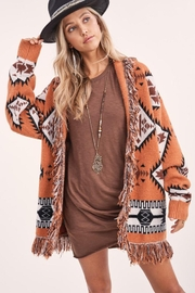 LA MIEL  Aztec Print Boho Knit Sweater Shawl Collar Cradigan Kimono With Tassel And Side Pockets - Other