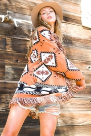LA MIEL  Aztec Print Boho Knit Sweater Shawl Collar Cradigan Kimono With Tassel And Side Pockets - Product Mini Image