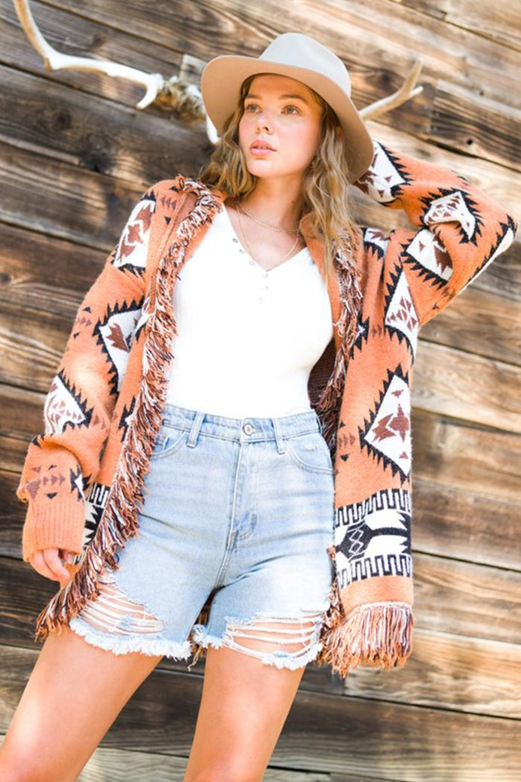 LA MIEL  Aztec Print Boho Knit Sweater Shawl Collar Cradigan Kimono With Tassel And Side Pockets - Side Cropped Image