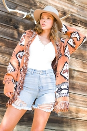 LA MIEL  Aztec Print Boho Knit Sweater Shawl Collar Cradigan Kimono With Tassel And Side Pockets - Side cropped