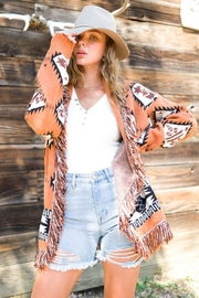 LA MIEL  Aztec Print Boho Knit Sweater Shawl Collar Cradigan Kimono With Tassel And Side Pockets - Back cropped