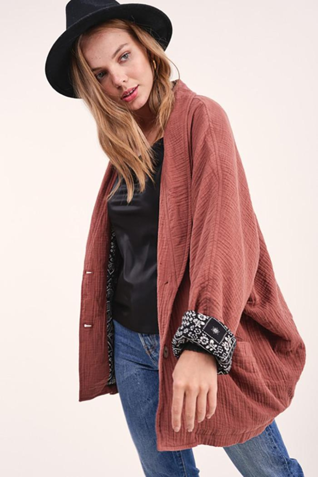 LA MIEL  Button Front Blazer Dropped Dolman Sleeves - Front Cropped Image