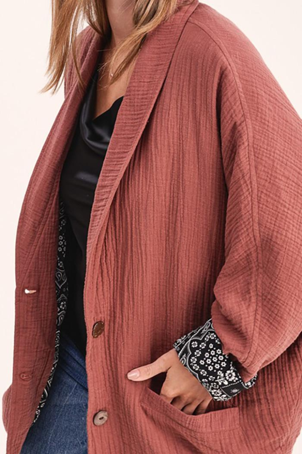 LA MIEL  Button Front Blazer Dropped Dolman Sleeves - Front Full Image
