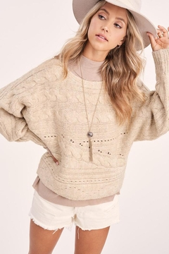 LA MIEL  Cable Knit Boat Neck Sweater Jumper - Product List Image