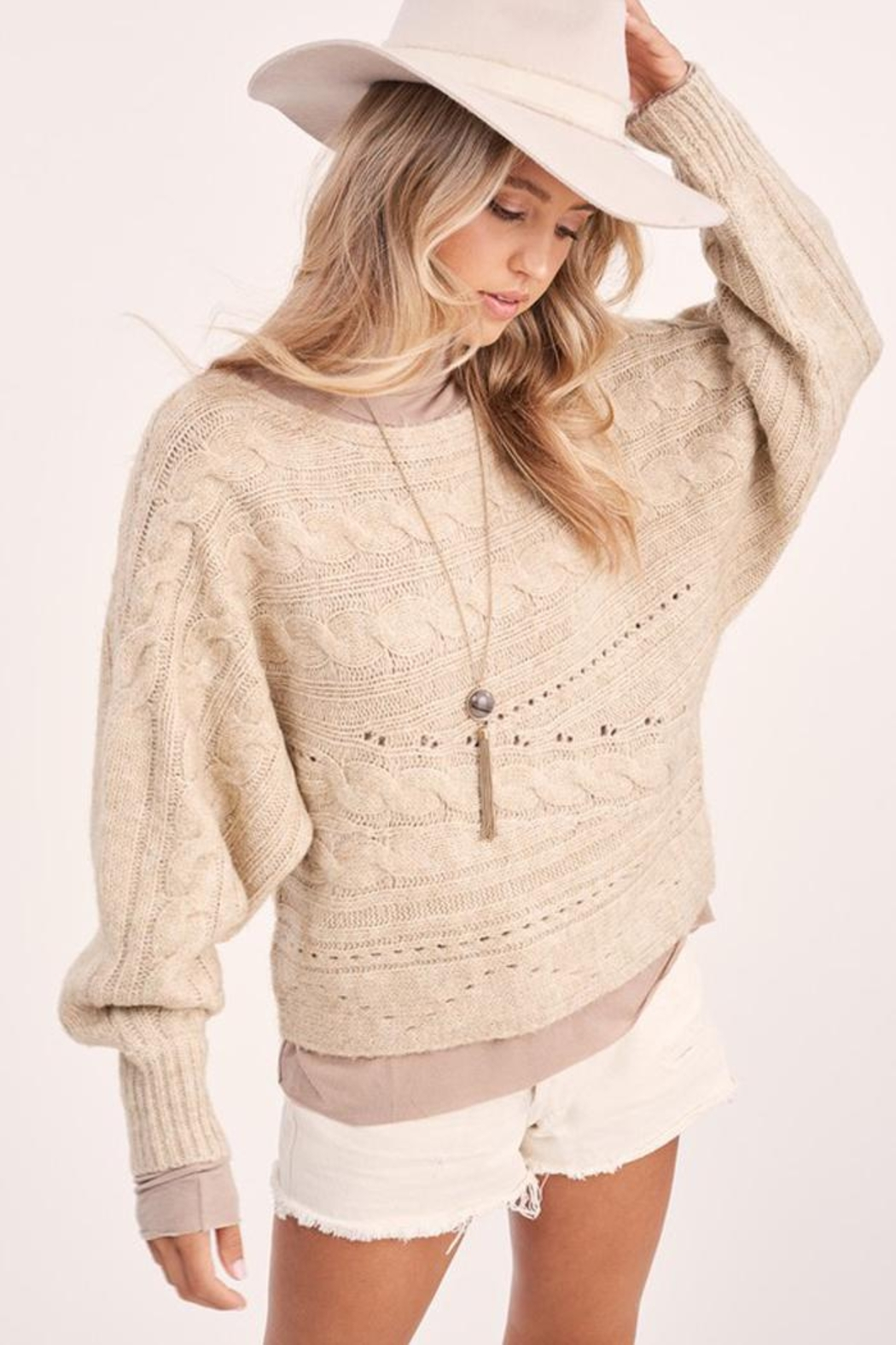 LA MIEL  Cable Knit Boat Neck Sweater Jumper - Side Cropped Image