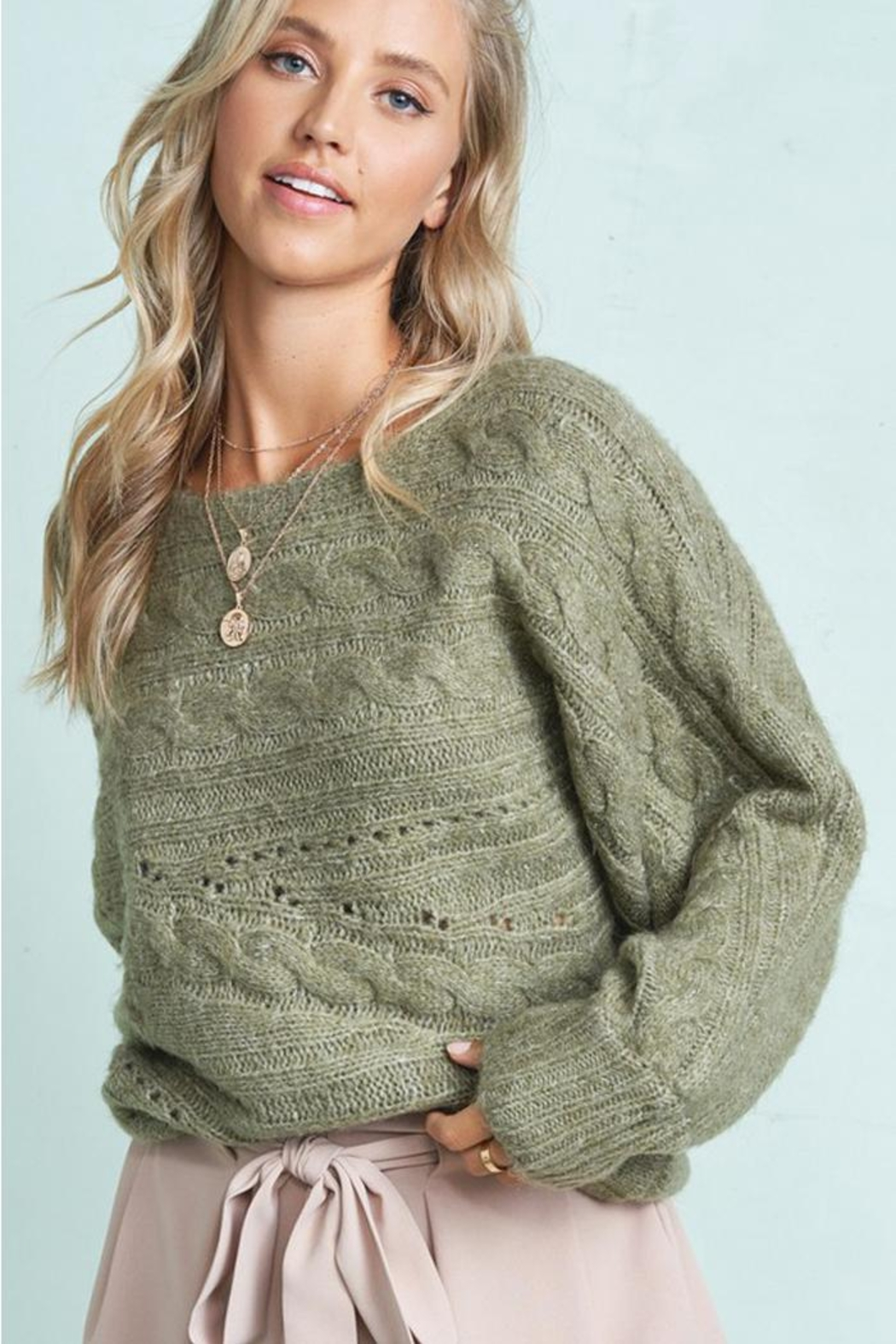 LA MIEL  Cable Knit Boat Neck Sweater Jumper - Front Cropped Image