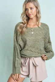 LA MIEL  Cable Knit Boat Neck Sweater Jumper - Side cropped