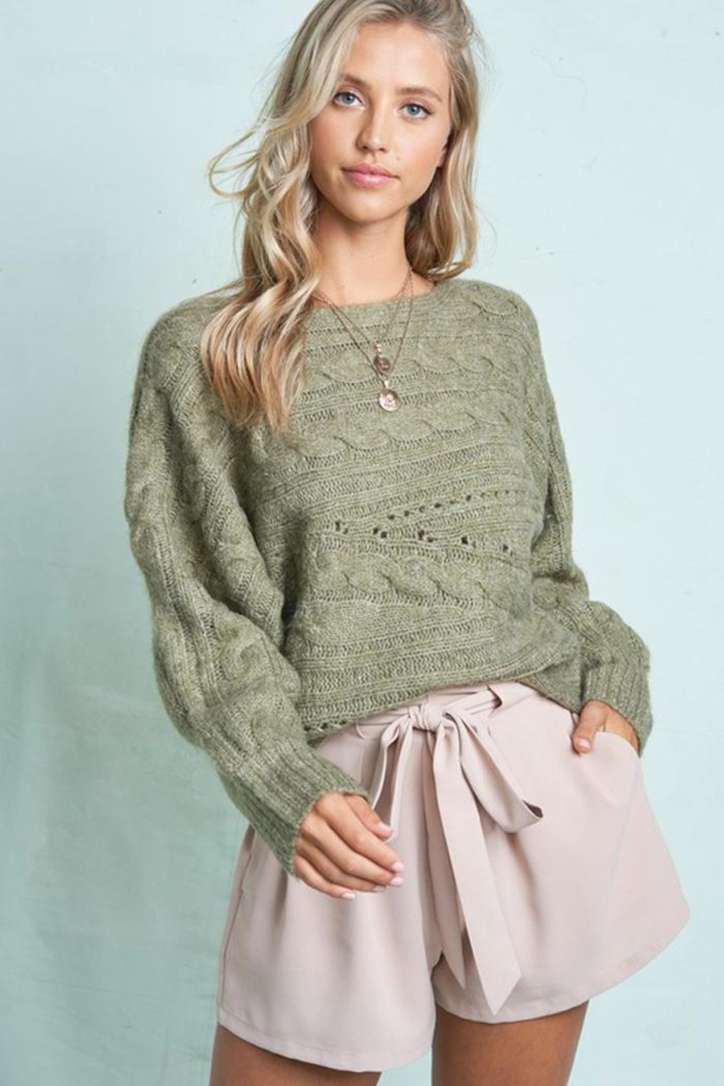 LA MIEL  Cable Knit Boat Neck Sweater Jumper - Back Cropped Image