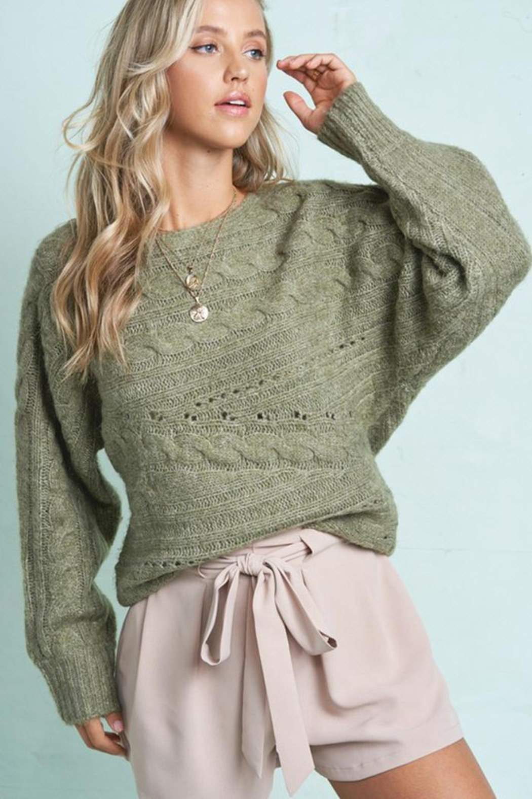 LA MIEL  Cable Knit Boat Neck Sweater Jumper - Front Full Image