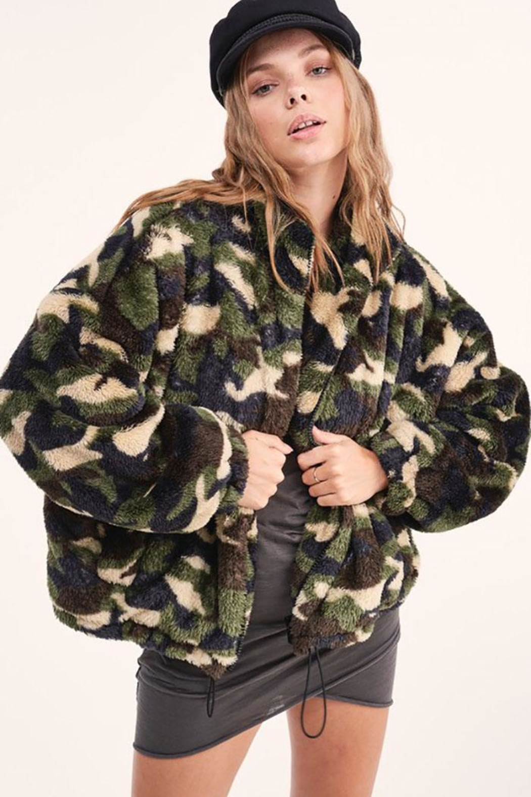 LA MIEL  Camouflage Sherpa Teddy Bear Cozy Jacket - Back Cropped Image