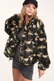 LA MIEL  Camouflage Sherpa Teddy Bear Cozy Jacket - Front full body