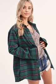 LA MIEL  Checkered Plaid Boyfriend Collar Shirt - Product Mini Image