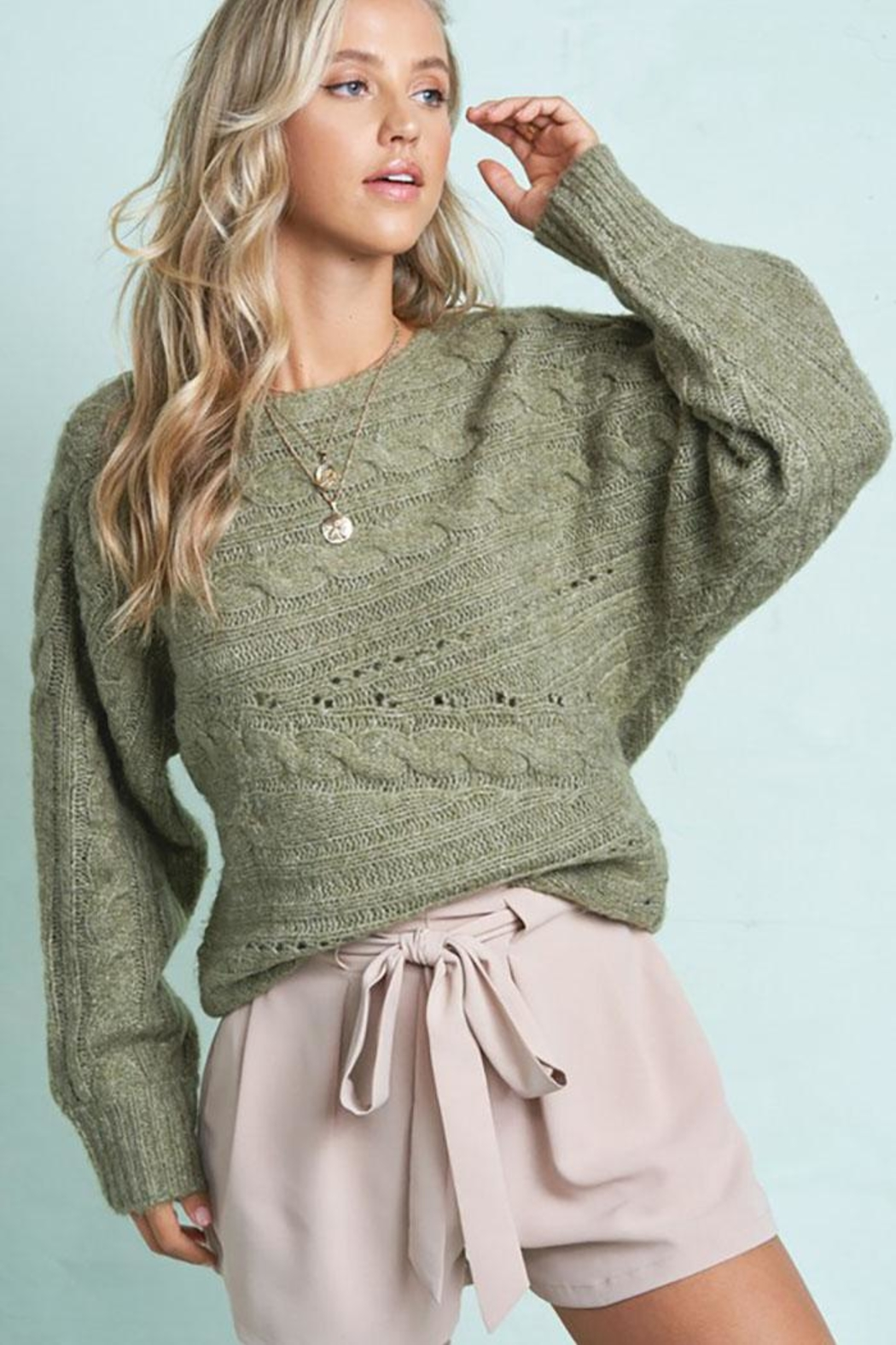 LA MIEL  Cute Cable Knit Pullover Sweater - Front Full Image