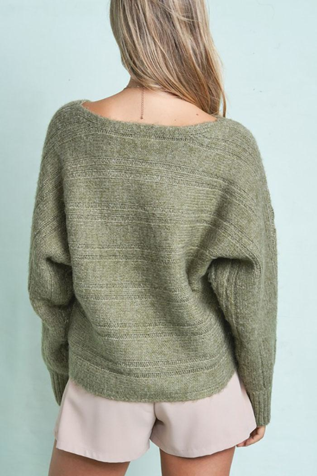 LA MIEL  Cute Cable Knit Pullover Sweater - Side Cropped Image
