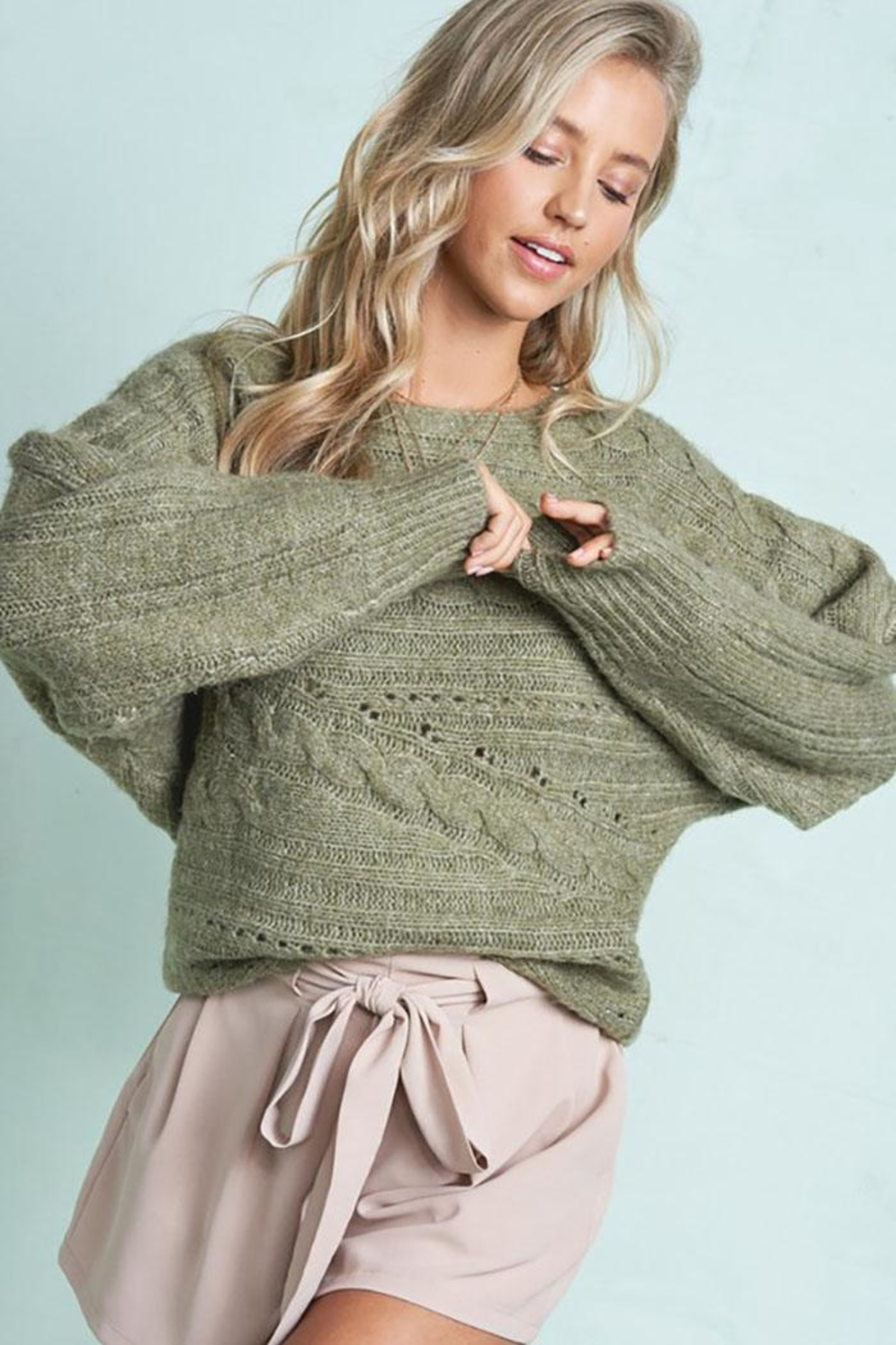 LA MIEL  Cute Cable Knit Pullover Sweater - Front Cropped Image