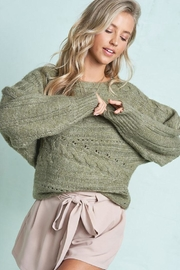 LA MIEL  Cute Cable Knit Pullover Sweater - Front cropped