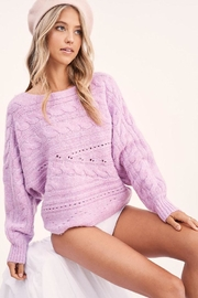 LA MIEL  Cute Cable Knit Pullover Sweater - Front full body