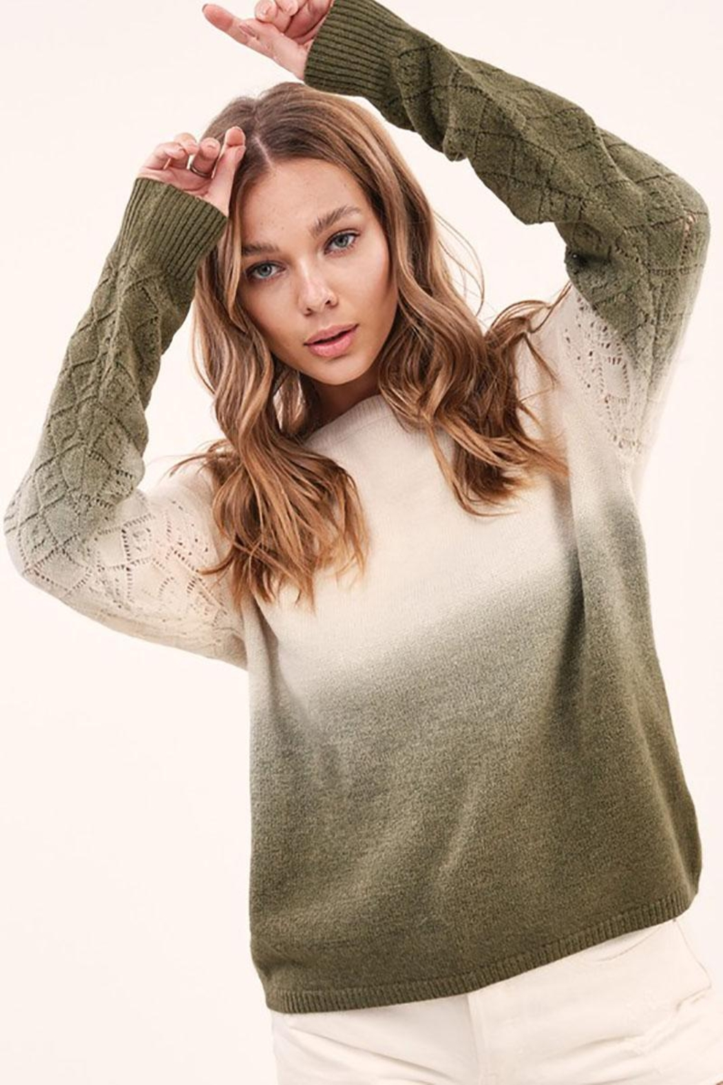 LA MIEL  Dip Dye Gradient Knit Pullover Sweater - Front Cropped Image