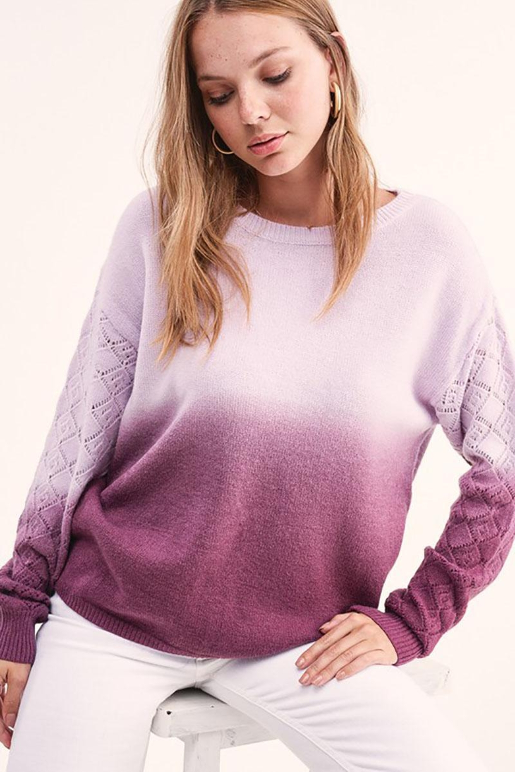 LA MIEL  Dip Dye Gradient Knit Pullover Sweater - Side Cropped Image