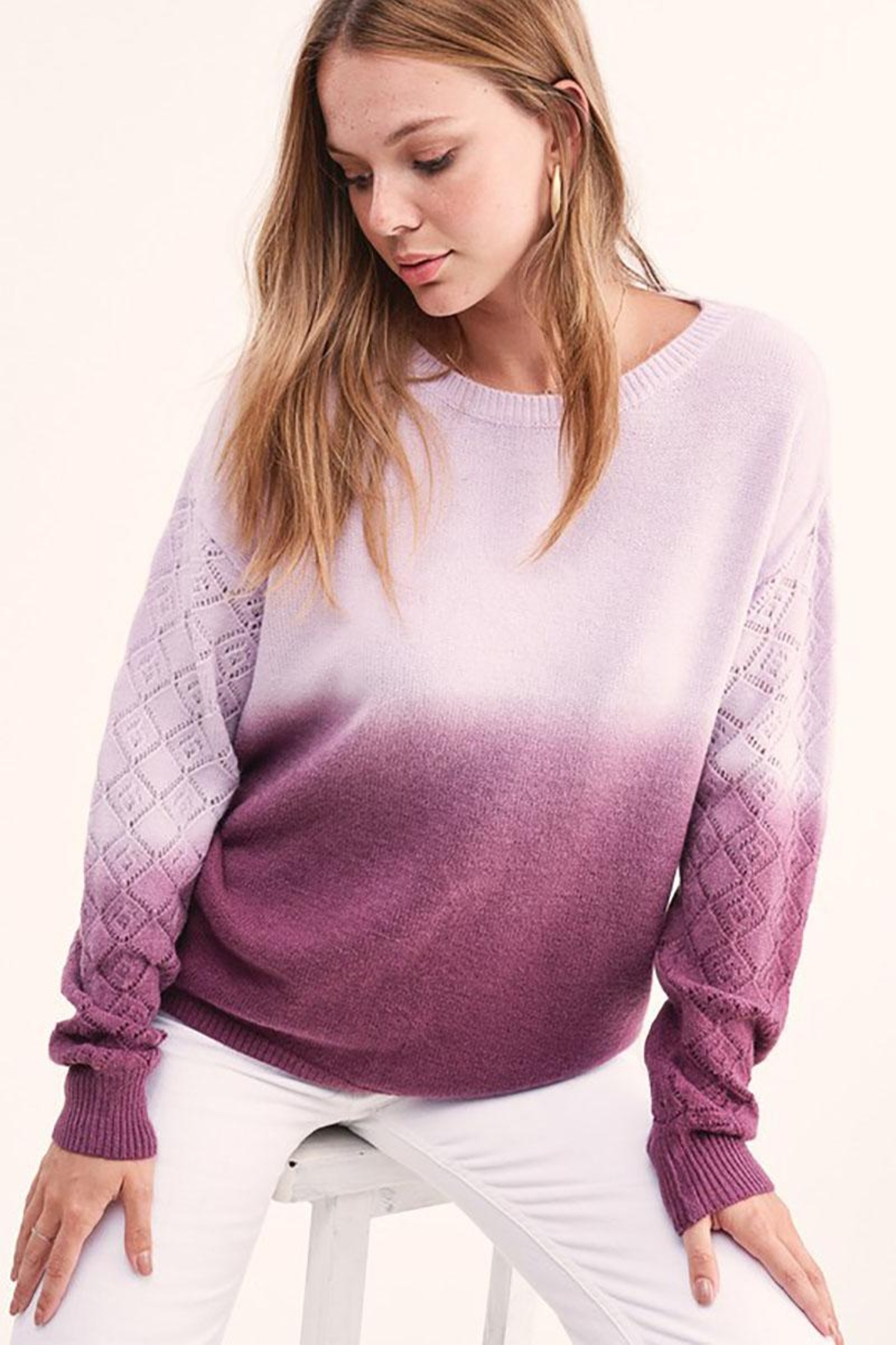 LA MIEL  Dip Dye Gradient Knit Pullover Sweater - Front Full Image