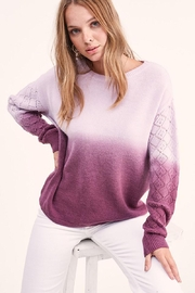 LA MIEL  Dip Dye Gradient Knit Pullover Sweater - Front cropped
