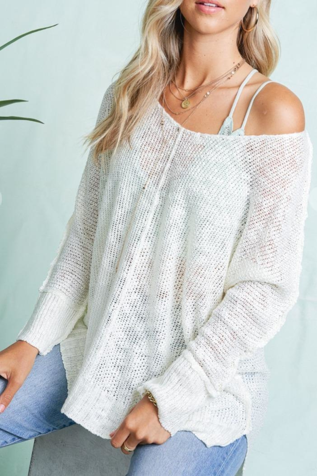 LA MIEL  Exposed Seam Sweater - Front Cropped Image